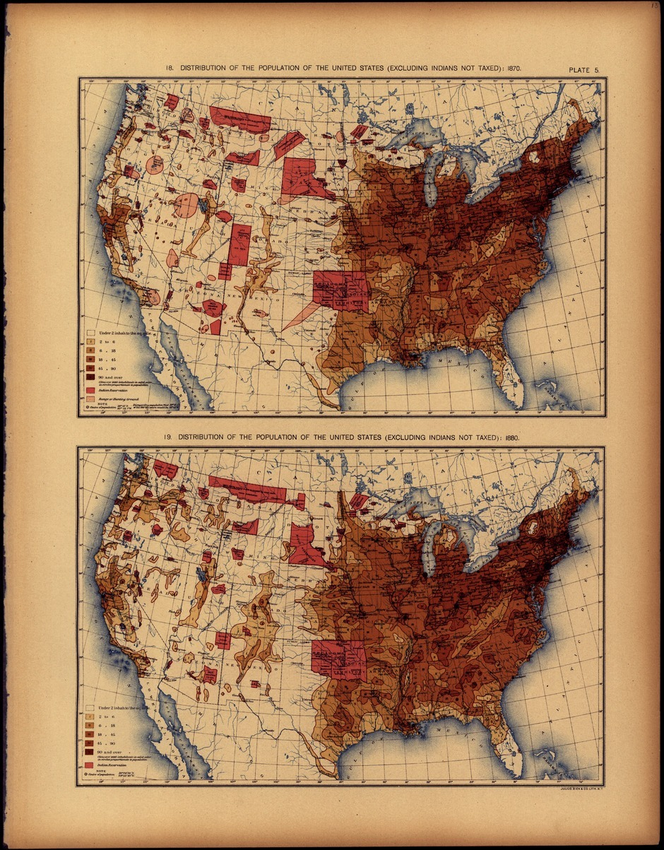 "The old maps from the 19th century are probably the best graphs you can find. There are complete contrast to the aesthetics you find today. The yellowish paper, hand-drawn graphs, and deep, warm colors from the printing method provide a superb look. The effort also needed to make these graphs is always gratifying since I know it took time and planning to create each graph. A new site, Handsome Atlas, shows the pages from the U.S. Census books from the late 19th century. The U.S. was emerging from the Civil War and the Census publications became more illustrious. The first image is a chart on the political parties in the U.S. as it relates to presidential elections. The chart is confusing, but there are some redeeming characteristics. First, it adds substantial narrative alongside the graph. The narrative does not focus on explaining the graph, but instead is a true supplement to the entire story. The graph also utilizes branch or river-like sketching within the colored region to show small sub-movements within the political parties. This is just about lost in contemporary politics, but the two-party system of yore had substantial movements which could eventually replace an established party. The second graph looks at how individuals occupy their time. It is a tree diagram showing the distribution of people in various industries and education by state. Older charts seem almost brazen in their willingness to simplify data for presentation. It is very useful to see a simple distribution of a few key industries in a single graph. The third graph shows the rank and change-in-rank of state populations over time. It's reminiscent of ladder, or slopegraphs, that are popular today. In a nice, but a little confusing, bit of minimalism, the nodes terminate if there is not a change in a state's population rank. On the topic of population, the last image is a graph showing the distribution of the population. The western frontier is clearly visible in the graph. The color is fantastic, a intended by-product of the printing style of the time. It is unfortunate inkjets can't reproduce the same warmth. It is also interesting to see statistics of, as the site puts it, your great-great grandfather. There is, of course, the dated, old-timey language like ""idiots"" and ""lunacy"" graphs, but there is also substantial attention paid to oats, tobacco, corn, and wheat—this was before the American industrial revolution. The western frontier is literally visible in the maps. Political issues are also clearly apparent as they are careful to label if Native Americans and other marginalized populations are included—since their individuality was dubious at the time. Immigration was more focused on the migration from upper-European nations—a distinction that wouldn't be made today."