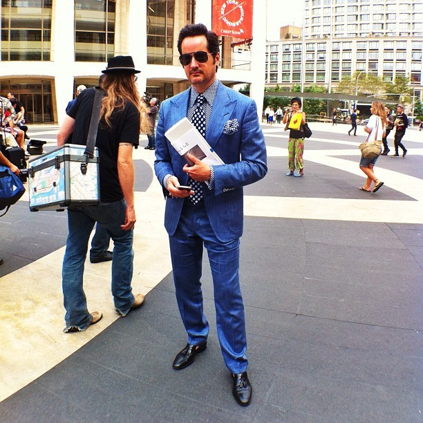 Blue suit. Black shoes. Always in style. #nyfw #fashion #style (Taken with Instagram)