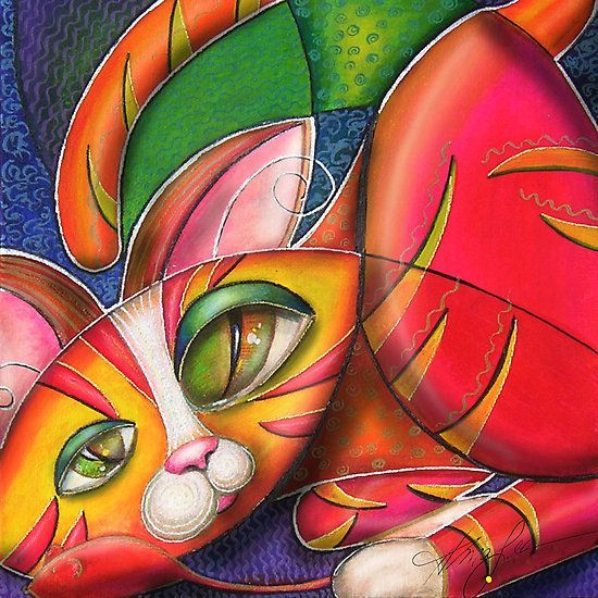 Cubists' cat (Style: Contemporary Cubism) by Alma Lee