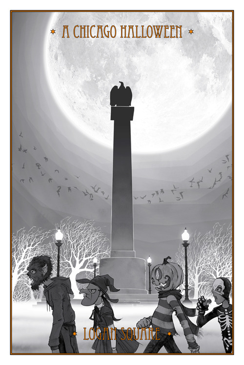 "Thinking of doing a limited run of this BW version of ""A Chicago Halloween - Logan Square"". What say ye?"