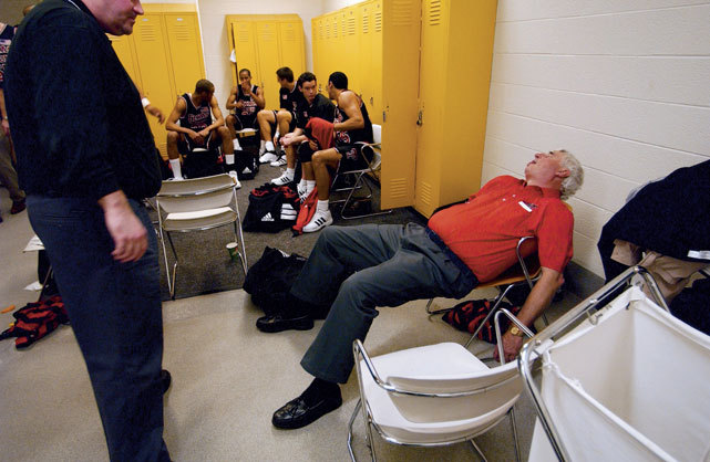 Bobby Knight catches up on his sleep after a 2002 Texas Tech-Colorado game. In his latest column, SI's Andy Glockner discusses Red Raiders coach Billy Gillispie and Texas Tech's history of hiring combative coaches. (Rich Clarkson/SI) GLOCKNER: Texas Tech has a history with controversial coaches