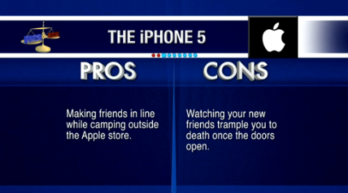 latenightjimmy:  Apple is announcing the iPhone 5 right now! Check out the Pros and Cons of it from last night's show.