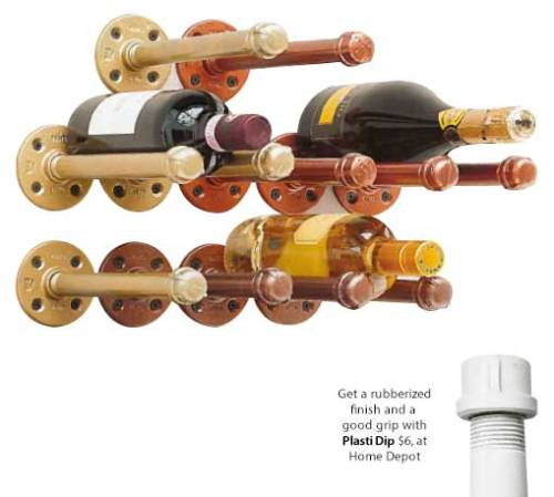 CRAFT TIME: DIY Wine Rack by Danny Seo with a rubberized finish via Plasti Dip. Check out the step-by-step instructions: DIY Wine Rack!