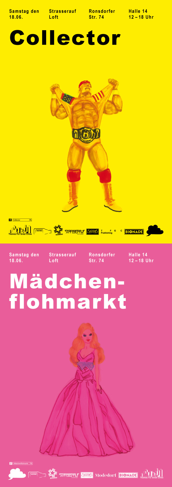 Mädchenflohmarkt / Collector Double Poster for a parrallel girls and boys fleamarket event. Mädchenflohmarkt for the girls, Collector for the boys.