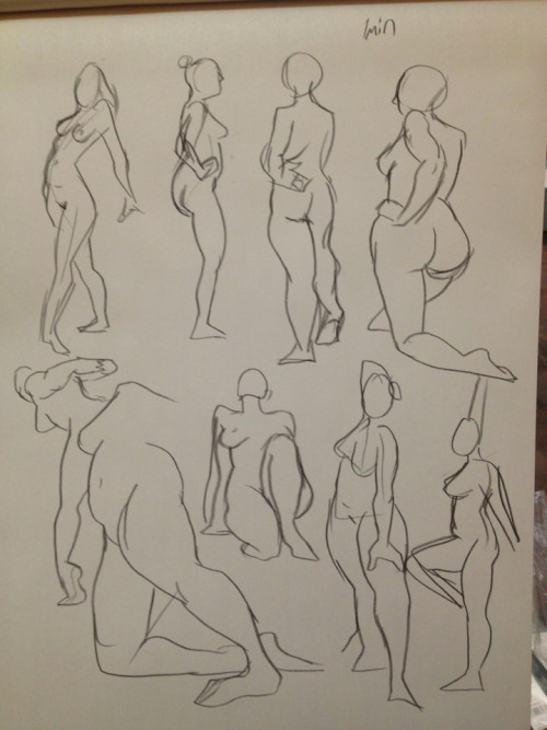 1 minute gesture sketches from Figure Drawing The professor came by and said these were beautiful! :D I was so happy because he had never commented on my art before. Yay!