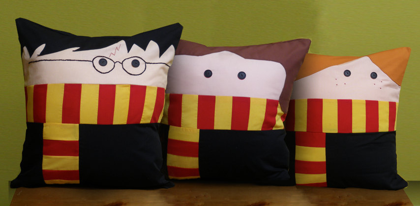 The Trio Pillow Set The other day I was just thinking about how it's my dream to have pillows shaped like my favorite fictional characters. Sold on Etsy.