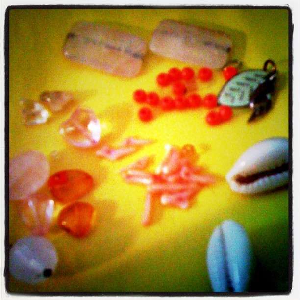 Back to work! :) @alafia365 #jewelry #diy #crafting #create #rose quartz #cowrie shells #amber #coral  (Taken with Instagram)