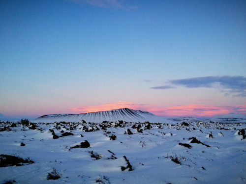 Sunset at Hverfell crater, near Lake Myvatn, Iceland.