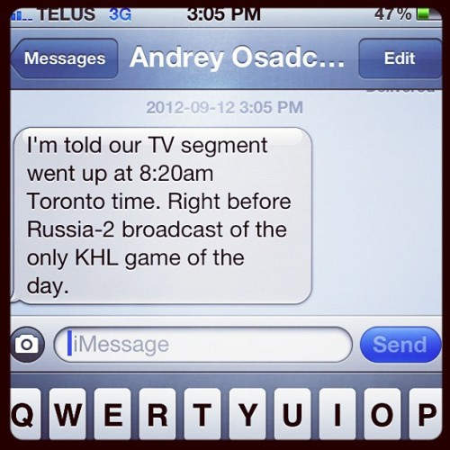 I was talking about hockey on national TV in Russia today. The lockout won't stop me from doing what I love. (Taken with Instagram)