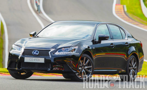 The 2013 Lexus GS 450h F Sport is the most powerful version of the GS to compete with the Germans in the full-size sports sedan segment. (Source: Road & Track)
