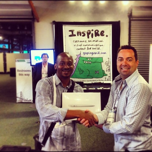 I just won a MacBook Air at #tcdisrupt ! using @MunzeeInfo http://www.munzee.com app. Playing their scavenger hunt game (Taken with Instagram at TechCrunch Disrupt SF 2012)