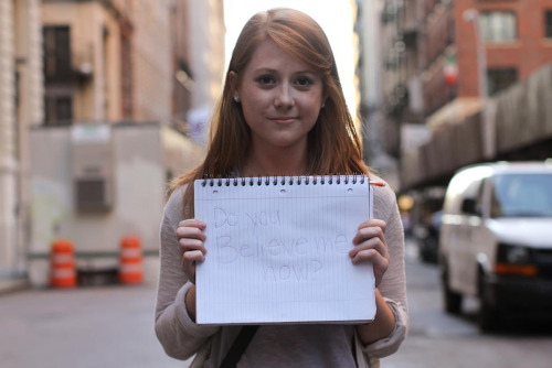 "humansofnewyork:  Yesterday a very nervous girl stopped me on Broadway. ""I always tell my boyfriend how much I love him,"" she said, ""but he never believes me. I was hoping you could help me send him a message."" ""On the blog?"" I asked. She hesitated, then answered: ""Yes."" I told her I couldn't do it. ""I'll take your photo and email it to you,"" I said, ""but I can't share it."" I explained to her that I have a hard rule about not photographing people who stop me on the street— otherwise the requests would quickly become unmanageable. In addition to this, I get so many emails from very young couples asking me to document their Greatest Of All Loves. They normally express their relationships in cinematic terms, saying things like: ""It took me 15 years, but I finally found my soulmate."" Or ""Even though we go to different high schools, the strength of our love has allowed us to persevere through the hardship. Please take our photo."" I think I join the rest of the adult community in a little eye rolling, along the lines of: ""Yeah, yeah, been there. Don't worry— the hormones will level off."" But while editing the girl's photo, I realized that I've probably been a bit too dismissive of these sentiments. Young love is a huge part of life. Sometimes it evolves into something steadier and longer lasting— more often it doesn't. But few things have the power to consume us so completely. So here's my tribute to that experience. To the recipient of this message: Your girlfriend really, really loves you.  Speaks for itself."