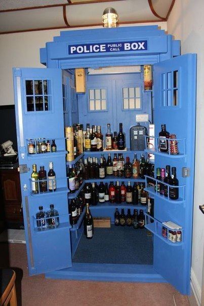 kiwisdichotomy:  thedailywhat:  Party Tardis of the Day: It's boozier on the inside. [reddit]  First thing I need when I get an apartment.  Breaking two of my personal rules here by reblogging The Daily What and acknowledging the existence of Dr. Who but daaaaaaaamn. That's a lot of booze.