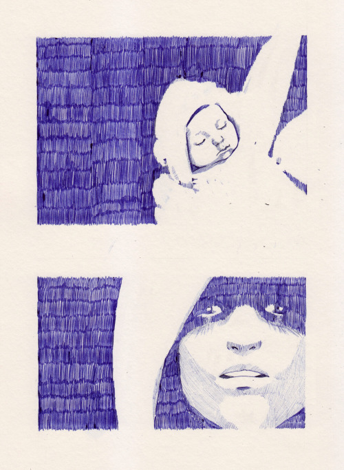 fatma-sketchbooking:  The baby and the Hooded lady.