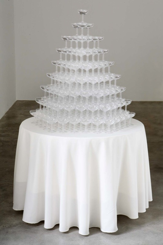 "bluebirdsfloat:  PETER COFFIN - ""Untitled (Champagne Pyramid)"" 2010  Moving, champagne glasses, mixed media / Table, motor, champagne glasses, plywood"