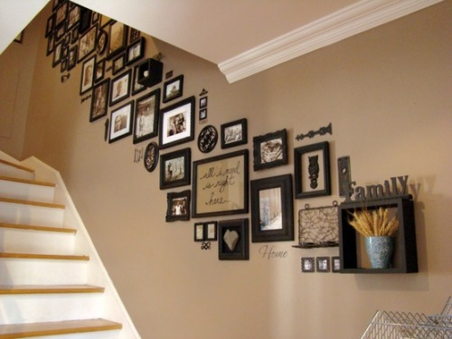raeslifebegins:  all my precious photos are going to be going up the stairs. ive always admired the people who did this.
