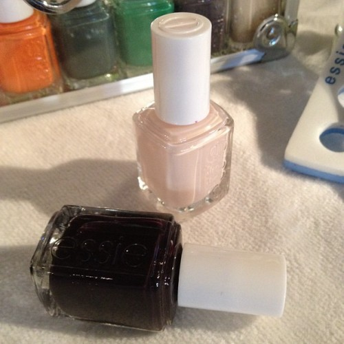 Nails at Marchesa: Essie Ballet Slippers was layered under a coat of Tuxedo to make the eggplant shade pop Photographed by Eden Univer