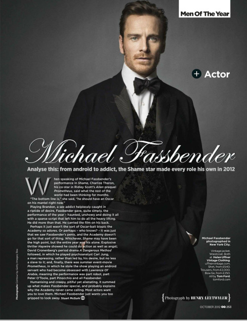 bohemea:  Michael Fassbender by Henry Leutwyler The description of this ensemble is divine - the jacket & waistcoat are vintage & the shirt, trousers & bowtie are by Tom Ford. SWOON!