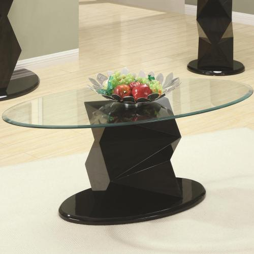 Decorate your living room with this modern coffee table. Crafted with a unique geometric designed base, it has a contemporary look that is visually pleasing to the eyes. An oval shaped glass table top adds a classy touch to the design, giving it a formal feel to decorate your home for only $189!