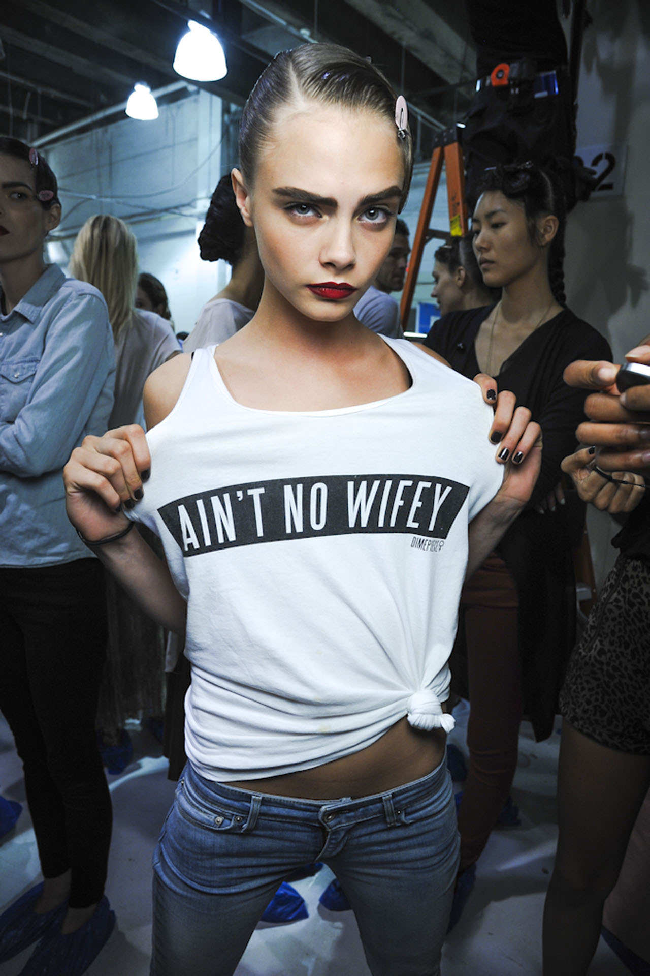 Cara Delevingne backstage at Jason Wu Spring/Summer 2013
