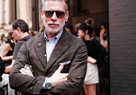 "Nick Wooster wearing his ""serious stripe"" shirt made in collaboration with Hamilton Shirts."