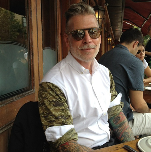 "Nick Wooster wearing his ""serious oxford"" shirt made in collaboration with Hamilton Shirts."