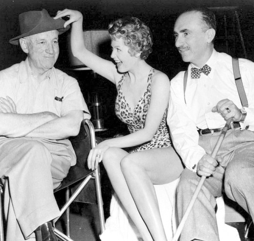 Director Allan Dwan, Arlene Dahl and cinematographer John Alton on set of Slightly Scarlet (1956)
