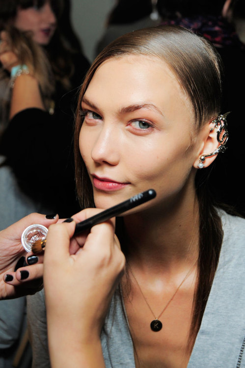 Karlie Kloss backstage at Rodarte