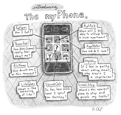 "newyorker:  ""MyPhone,"" by Roz Chast, marked the iPhone's first appearance in a New Yorker cartoon. It ran on July 27, 2009: http://nyr.kr/TLk7QR"