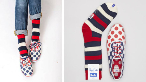 most adorable partnership ever alert: happy socks and keds have teamed up to release a limited edition value pack for the ages. spending $65, each pair of polka dot lace-ups comes with a pair of striped socks for that casually mismatched look. #cuteasabutton