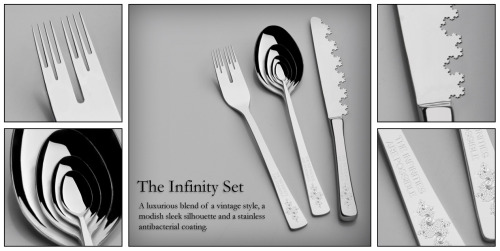 jtotheizzoe:  Fractal flatware. Best appearance of fractals since this collection of satellite photos demonstrating Earth's fractal geography patterns. (via fractalforums)