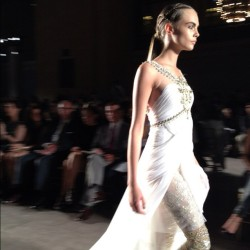The gorgeous Cara Delevingne at Marchesa. These looks are unreal! #RZFW (Taken with Instagram)