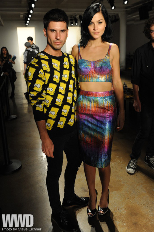 Geordon Nicol and Leigh Lezark Front Row at Jeremy Scott