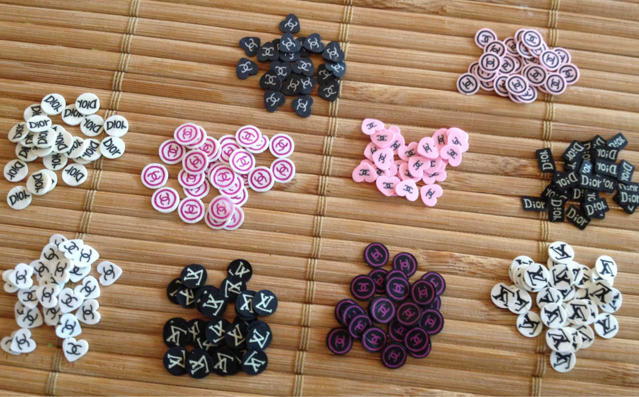 CC, LV and Dior designer Fimo. $1/pack of 25 slices