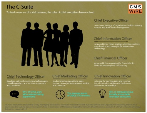 The C-Suite. We know who they are, but do we really know what they do? In the era of empowered employees, the chief executives are either working for you or against you.  First in a series, this article features the CEO and insights from IBM's CEO Study (via Meet the C-Suite: Understanding Their Impact on Social Business)