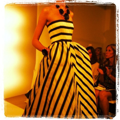 Bold black and white stripes also spotted at Oscar Photographed by Gloria Baume
