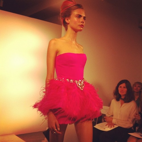 Mini Fuchsia number on Cara Delevingne Photographed by Gloria Baume