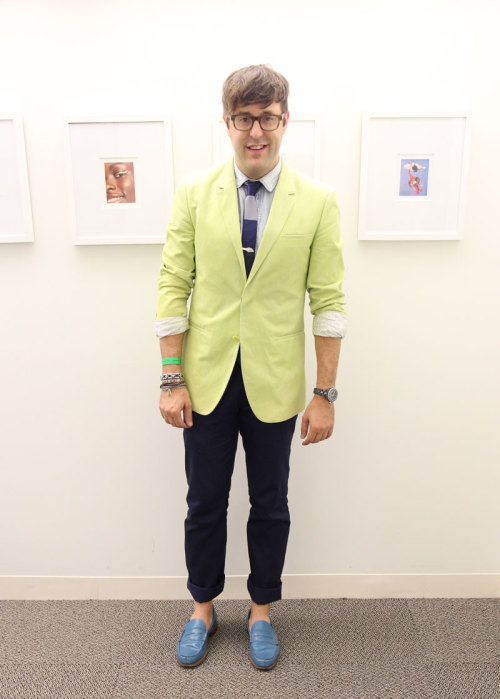 NYFW style: Andrew Bevan wears a Calvin Klein Collection blazer, D&G shirt, Topman tie, agnés b. pants and Paul Smith shoes