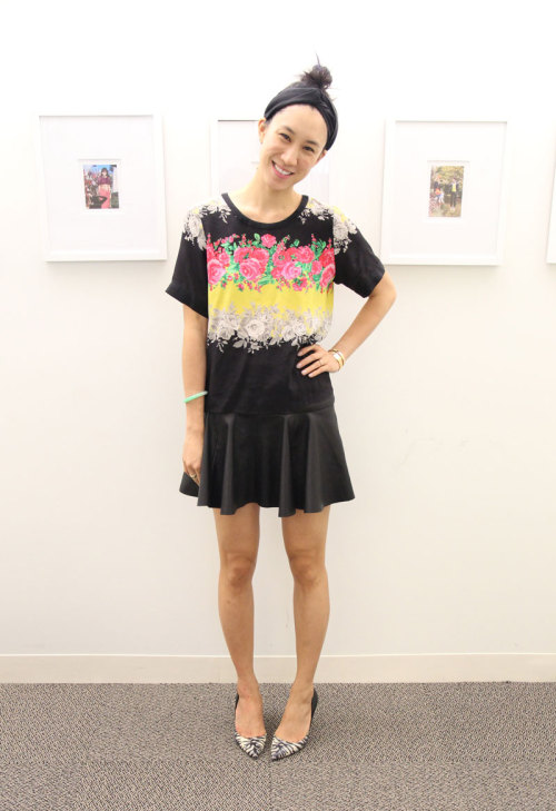 NYFW style: Eva Chen wears a Prabal Gurung shirt, Thakoon skirt and Pierre Hardy heels