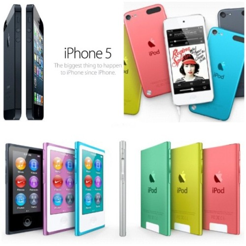 bitchiethoughts:  mysuperred:  The new iPhone 5, iPod Touch and iPod Nano ☺👍 (Taken with Instagram)  THEY ARE GETTING ALL MY MONEY !!!!!