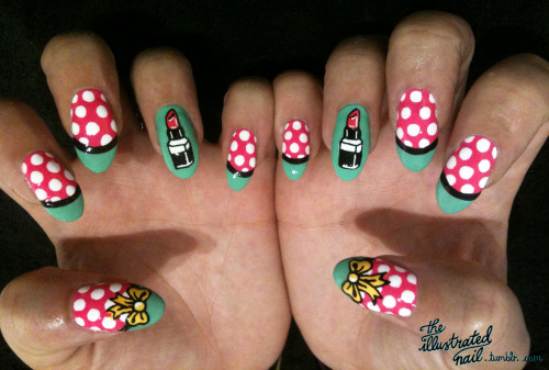 theillustratednail:  Spots, lipsticks and bows…OH MY!