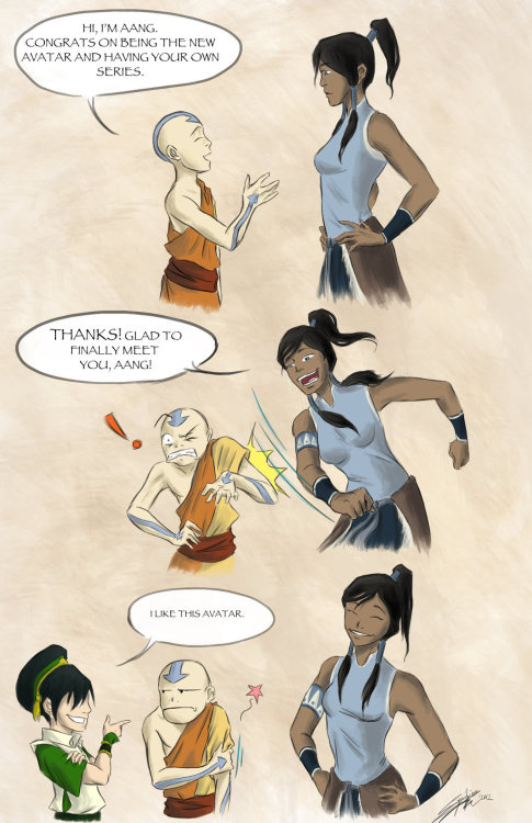 "simplyme-korra:  ""I still don't get why Lin did not like me if Toph did :S"""