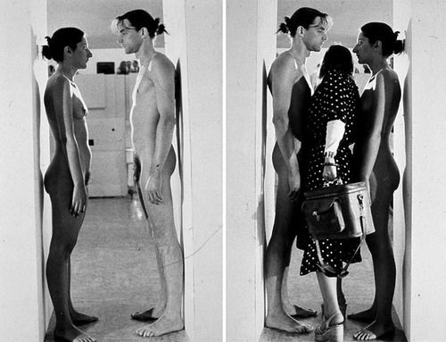 In Imponderabilia (1977) Serbian artist Marina Abramovic and Ulay collaborate to create a performance piece in which they, completely nude, flank the entrance to the Galleria Communale d'Arte Moderna in Bologna, Italy. Visitors wanting to enter the museum are forced to squeeze through their bodies.