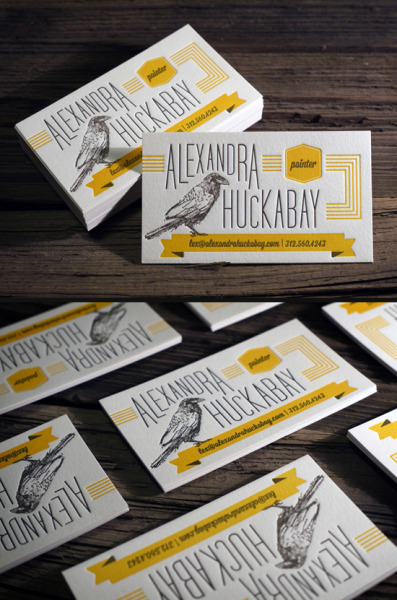 visualgraphic:  2 color letterpress business cards printed on 118lb cotton paper | Print & Grain | raven illustration by: Alexandra Huckabay Submitted by printandgrain.tumblr.com