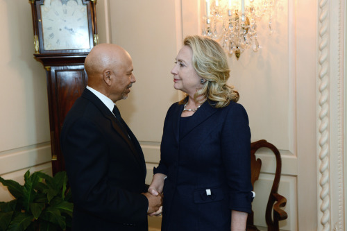 U.S. Secretary of State Hillary Rodham Clinton meets with Libya's Ambassador to the U.S. Ali Suleiman Aujali at the U.S. Department of State in Washington, D.C. on September 12, 2012. [State Department photo/ Public Domain]
