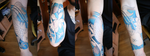 fuckyeahtattoos:  Second session on my Koi Tatto (Unfinished) :) Custom Design in Stigma Tattoo, Madrid (Spain)