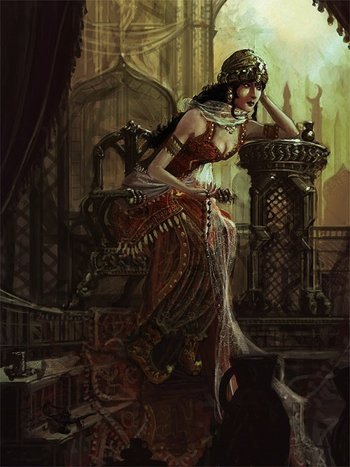 "Scheherazade, by drawingnightmare  Scheherazade is a legendary Persian queen and the main storyteller of One Thousand and One Nights. The frame tale goes that every day Shahryar (Persion for king) would marry a new virgin, and every day he would send yesterday's wife to be beheaded. This was done in anger, having found out that his first wife was unfaithful to him. He had killed one thousand such women by the time he was introduced to Scheherazade, the vizier's daughter. In Sir Richard Burton's translation of The Nights, Scheherazade was described in this way:  ""[Shahrazad] had perused the books, annals and legends of preceding Kings, and the stories, examples and instances of bygone men and things; indeed it was said that she had collected a thousand books of histories relating to antique races and departed rulers. She had perused the works of the poets and knew them by heart; she had studied philosophy and the sciences, arts and accomplishments; and she was pleasant and polite, wise and witty, well read and well bred.""  Against her father's wishes, Scheherazade volunteered to spend one night with the King. Once in the King's chambers, Scheherazade asked if she might bid one last farewell to her beloved sister, Dinazade, who had secretly been prepared to ask Scheherazade to tell a story during the long night. The King lay awake and listened with awe as Scheherazade told her first story. The night passed by, and Scheherazade stopped in the middle of the story. The King asked her to finish, but Scheherazade said there was not time, as dawn was breaking. So, the King spared her life for one day to finish the story the next night. So the next night, Scheherazade finished the story, and then began a second, even more exciting tale which she again stopped halfway through, at dawn. So the King again spared her life for one day to finish the second story. And so the King kept Scheherazade alive day by day, as he eagerly anticipated the finishing of last night's story. At the end of one thousand and one nights, and one thousand stories, Scheherazade told the King that she had no more tales to tell him. During these one thousand and one nights, the King had fallen in love with Scheherazade, and had three sons with her. So, having been made a wiser and kinder man by Scheherazade and her tales, he spared her life, and made her his Queen. via"