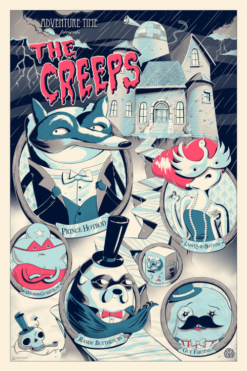 "jjharrison:  Adventure Time: The Creeps (Variant Edition)  By JJ Harrison. 24""x36"" screen print. 5 colors. Hand numbered. Edition of 90. Printed by D&L Screenprinting. $65 Available at Mondo at a random time on Thursday, September 13th."