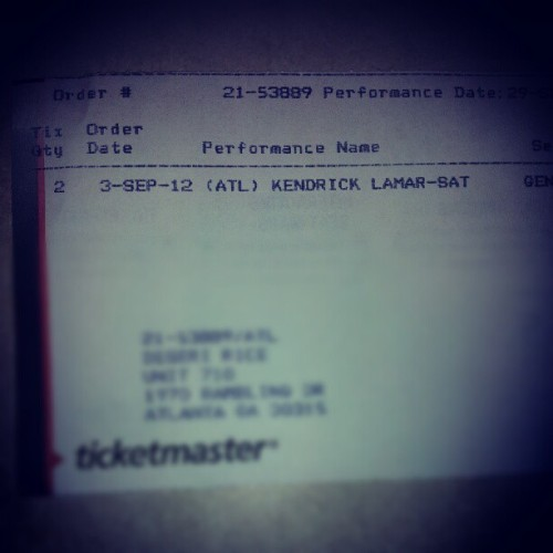 ayyeeeeee k.dot tickets came!! so happy! idk why they printed both tickets on one though.. (Taken with Instagram)