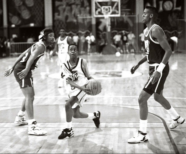 The Fresh Prince, Steve Urkel, & Reggie Miller shooting hoops.